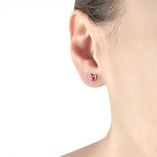 Fun Heart Sterling Silver Stud Earrings TruFlair Online Boutique