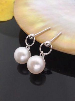 Round Freshwater Pearl Drop Earrings, Sterling Silver TruFlair