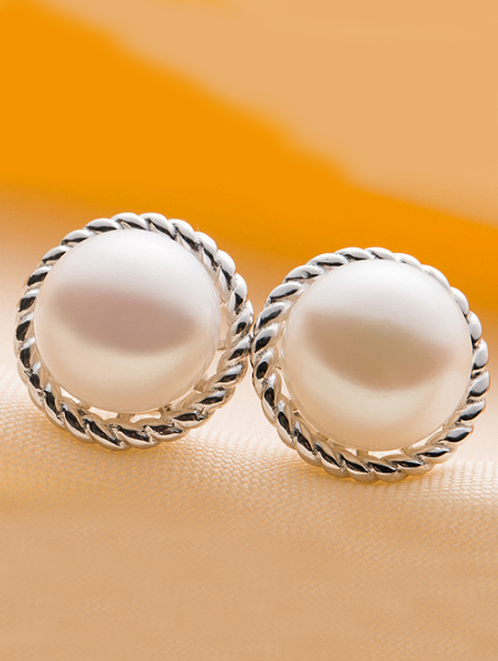 Swirl Freshwater Pearl Earrings, Sterling Silver TruFlair
