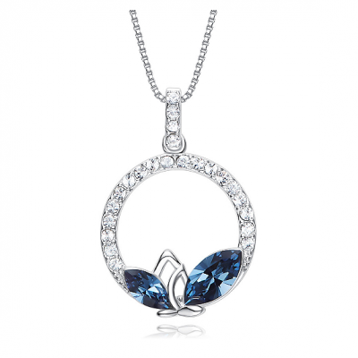 Swarovski Crystal Round Silver Pendant TruFlair Online Boutique