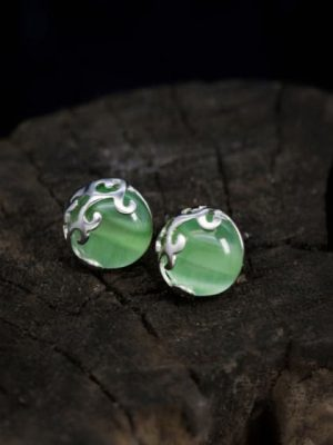 Green Agate Stud Earrings, Sterling Silver TruFlair