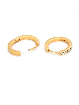 Titanium & Crystal Hoop Earrings, Gold-plated TruFlair