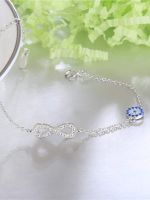 Infinity Sterling Silver & Zirconia Bracelet TruFlair