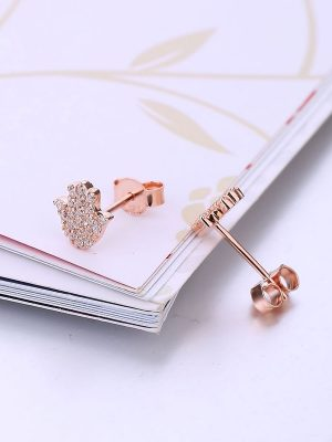 Hamsa Hand Rose Gold Plated Sterling Silver Stud Earrings TruFlair Online Boutique
