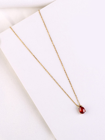 Geometric Red Stone Silver Pendant, Gold Plated TruFlair