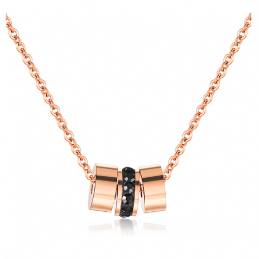 Three Rings Rose Gold Titanium Black Rhinestone Necklace TruFlair Online Boutique