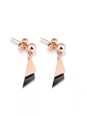 Titanium Triangle Drop Earrings, Rose Gold-plated TruFlair