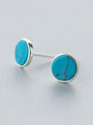 Simple Round Blue Turquoise Stud Earrings, Sterling Silver TruFlair