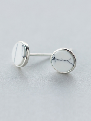 Simple Round White Turquoise Stud Earrings, Sterling Silver TruFlair