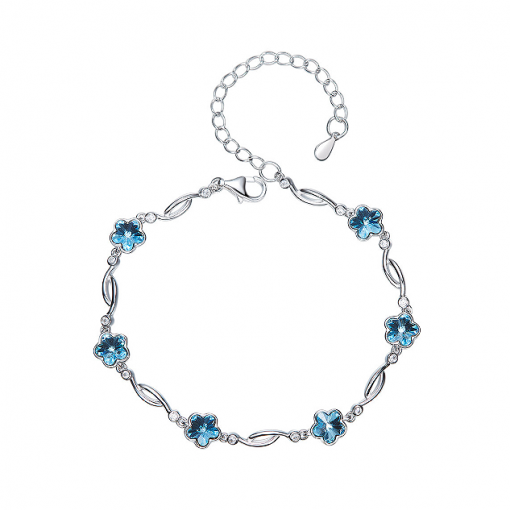 Crystal Flowers Platinum-plated Sterling Silver Swarovski Elements Crystal Bracelet TruFlair Online Boutique