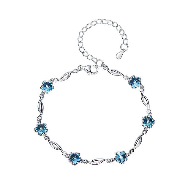 Crystal Flowers Platinum-plated Sterling Silver Swarovski Elements Crystal Bracelet TruFlair Online Boutique