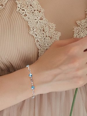 Crystal Flowers Sterling Silver Bracelet, Swarovski Elements TruFlair