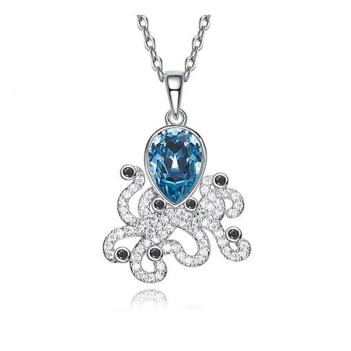 Posh Octopussy Swarovski Crystal Platinum Plated Pendant TruFlair Online Boutique