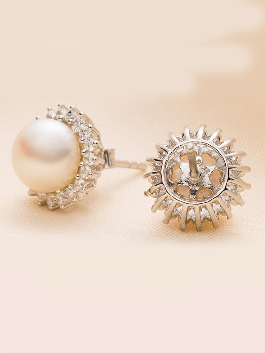 Sun Freshwater Pearl Earrings, Sterling Silver & Cubic Zirconia Crystals TruFlair