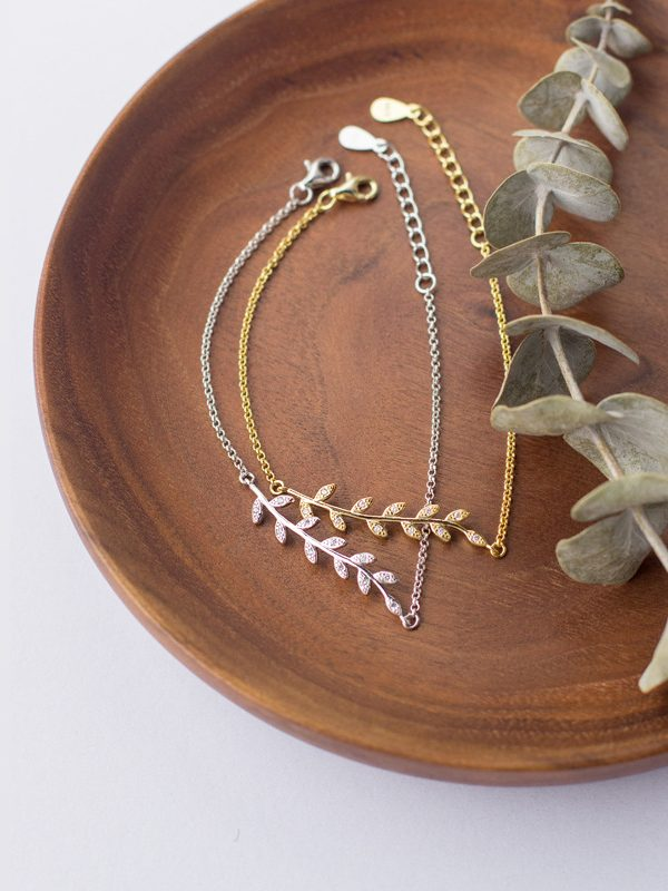 Golden Leaves Bracelet, Gold-plated Sterling Silver TruFlair