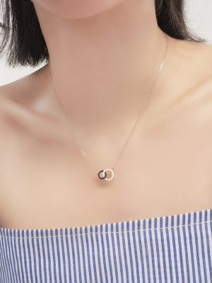 Interlocked Crystals Round Sterling Silver Necklace TruFlair Online Boutique