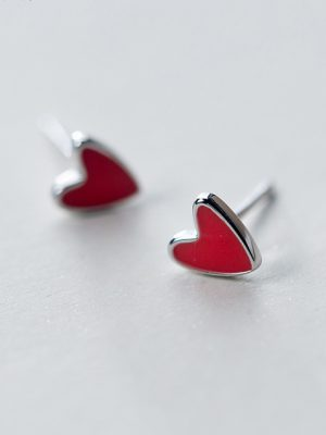 Fun Heart Sterling Silver Stud Earrings TruFlair Online Boutique