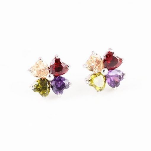 Summer Flowers Earrings White Gold Plated Copper Alloy Multi Coloured Cubic Zirconia Crystals TruFlair Online Boutique