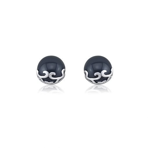 Black Agate Stud Earrings Sterling Silver TruFlair Online Boutique