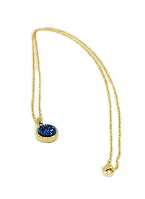 Blue Crystal Round Pendant, Gold Plated TruFlair