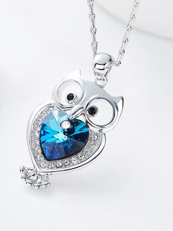 Blue Heart Swarovski Elements Crystal Owl Pendant Platinum Plated Copper TruFlair Online Boutique
