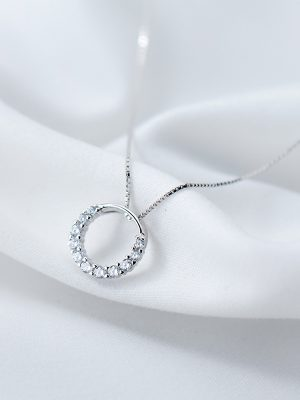 Crystal Ring Necklace, Rhinestone & Sterling Silver TruFlair