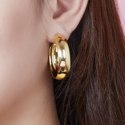 Curved Surface Hoop Earrings Gold Plated Copper TruFlair Online Boutique