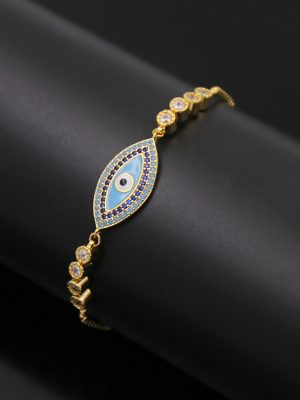 Evil Eye Bracelet & Cubic Zirconia, Gold Plated TruFlair