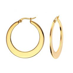 Flat Hoop Earrings Gold Plated Titanium TruFlair Online Boutique