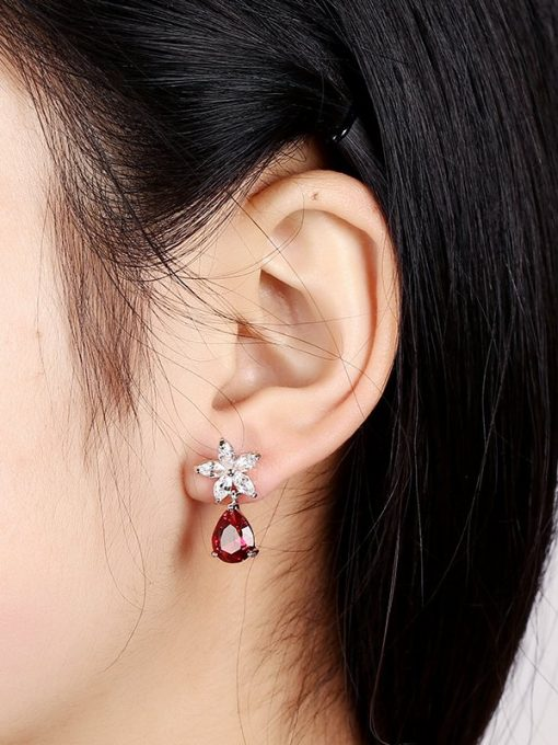 Flower Crystal Red Drop Earrings Cubic Zirconia White Gold Plated Copper TruFlair Online Boutique