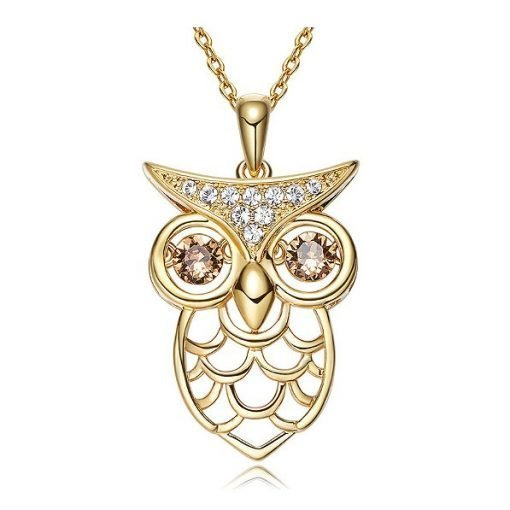Golden Owl Pendant Swarovski Elements Crystals Gold Plated Copper TruFlair Online Boutique