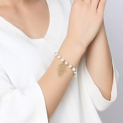Hamsa Hand Baroque Freshwater Pearl Gold Plated Titanium Bracelet TruFlair Online Boutique