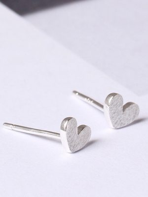 Heart Stud Earrings, Brushed Sterling Silver TruFlair