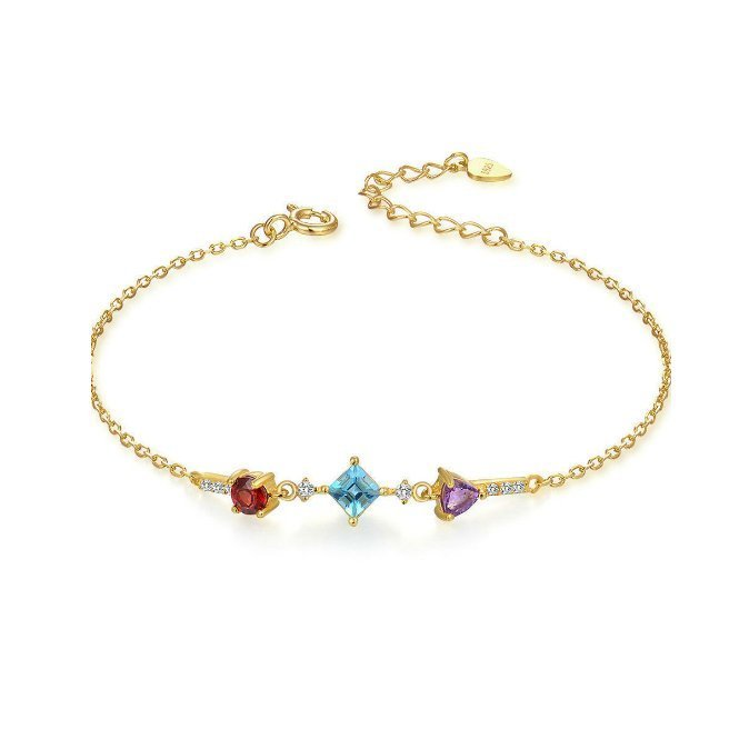 Multi Colour Stones Bracelet Gold Plated Sterling Silver Red Garnet Blue Topaz Amethyst TruFlair Online Boutique