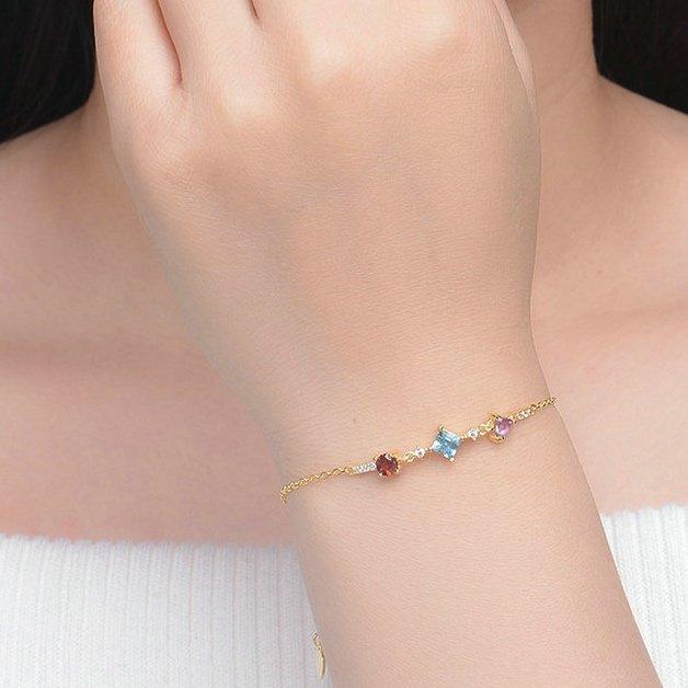 Multi Colour Stones Bracelet Gold Plated Sterling Silver Red Garnet Blue Topaz Amethyst TruFlair Online Boutique