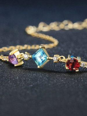 Multi Colour Stones Bracelet, Sterling Silver & Garnet, Topaz, Amethyst TruFlair