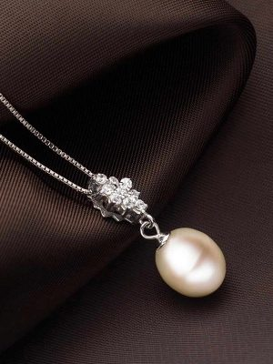 Freshwater Pearl & Crystal Pendant, Platinum Plated Sterling Silver TruFlair
