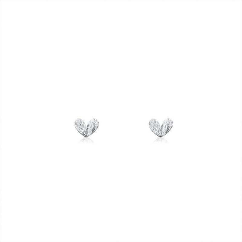 Heart Stud Earrings Brushed Sterling Silver TruFlair Online Boutique