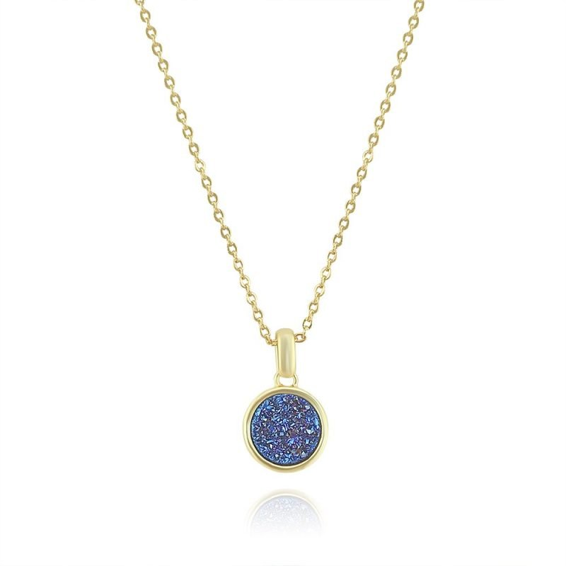 Blue Crystals Round Pendant Gold Plated Copper TruFlair Online Boutique