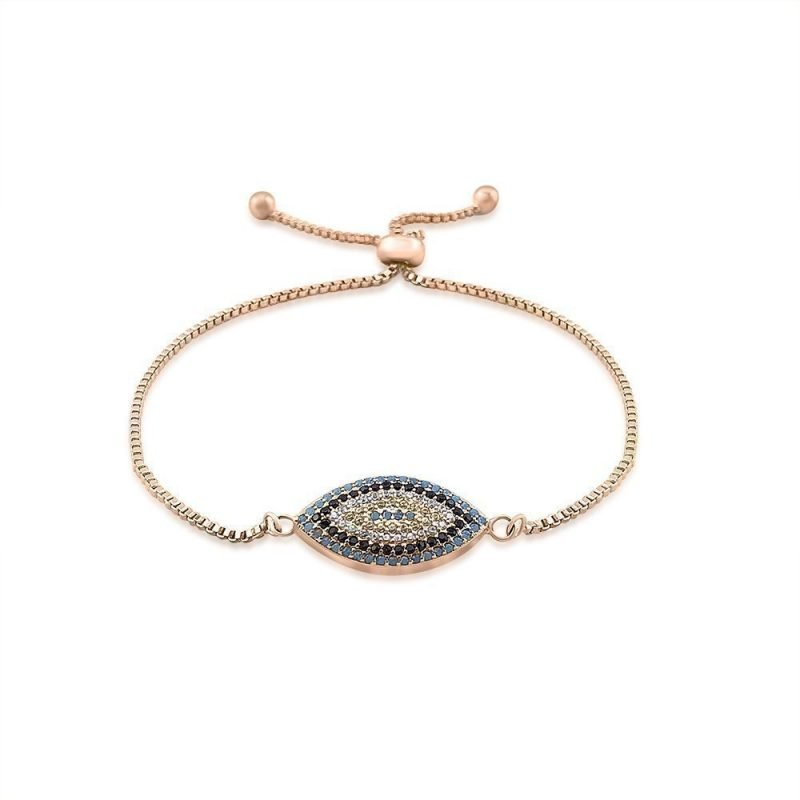 Evil Eye Micro Paved Bracelet Rose Gold Plated Turquoise Black White Zircon TruFlair Online Boutique