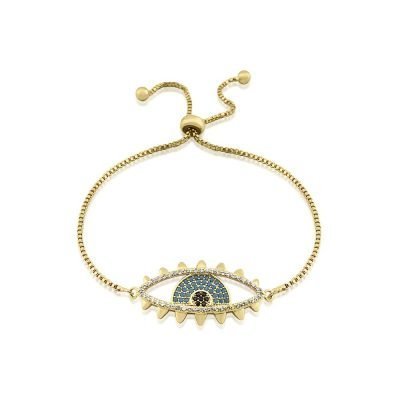 Evil Eye Micro Paved Bracelet Gold Plated Turquoise Cubic Zirconia TruFlair Online Boutique