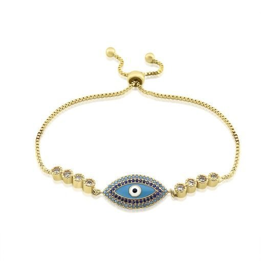 Evil Eye Micro Paved Bracelet Gold Plated Turquoise Black White Zircon TruFlair Online Boutique