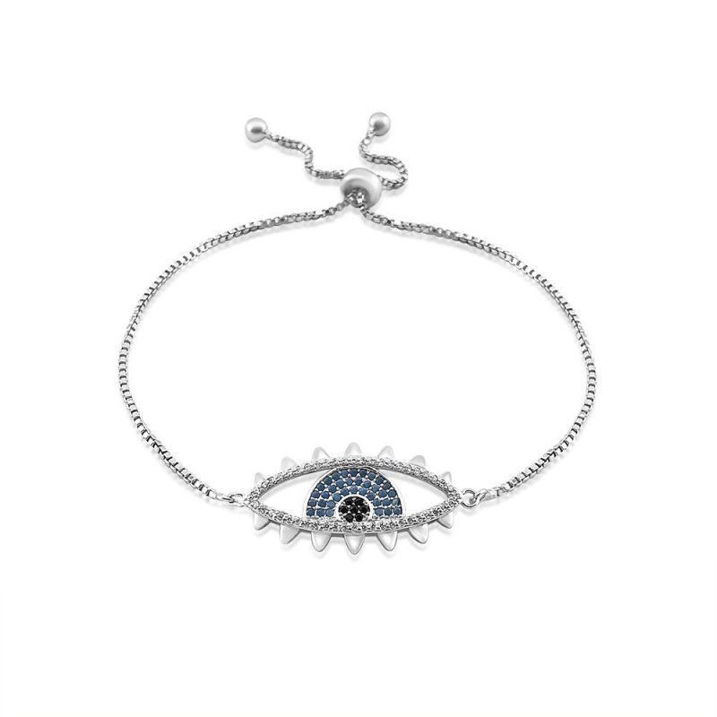 Evil Eye Micro Paved Bracelet White Gold Plated Turquoise Cubic Zirconia TruFlair Online Boutique
