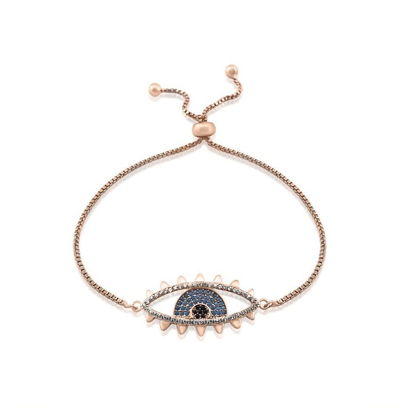 Evil Eye Micro Paved Bracelet Rose Gold Plated Turquoise Cubic Zirconia TruFlair Online Boutique
