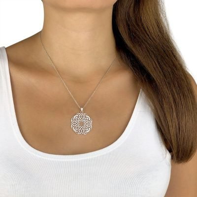 Infinity Persian Geometry Necklace White Gold Plated Brass TruFlair Online Boutique