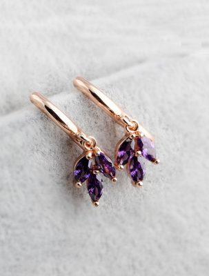 Purple Clover Hoop Earrings, Rose Gold Plated TruFlair