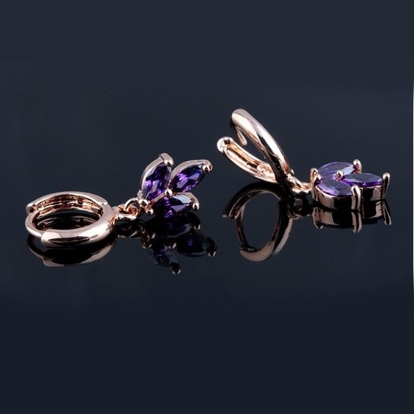 Purple Clover Hoop Earrings Zirconia Rose Gold Plated Copper TruFlair Online Boutique