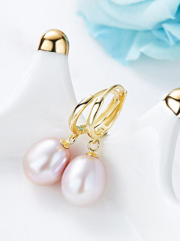 Purple Freshwater Pearl Hoop Earrings, Gold Plated Sterling Silver TruFlair