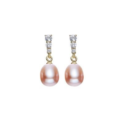 Freshwater Purple Pearls Cubic Zirconia Gold Plated Sterling Silver Stud Earrings TruFlair Online Boutique