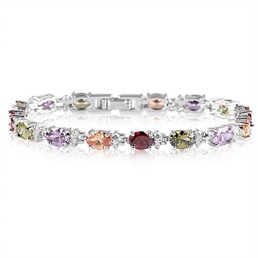 Rainbow Multi Colour Crystals Bracelet Zircon White Gold Plated Copper TruFlair Online Boutique